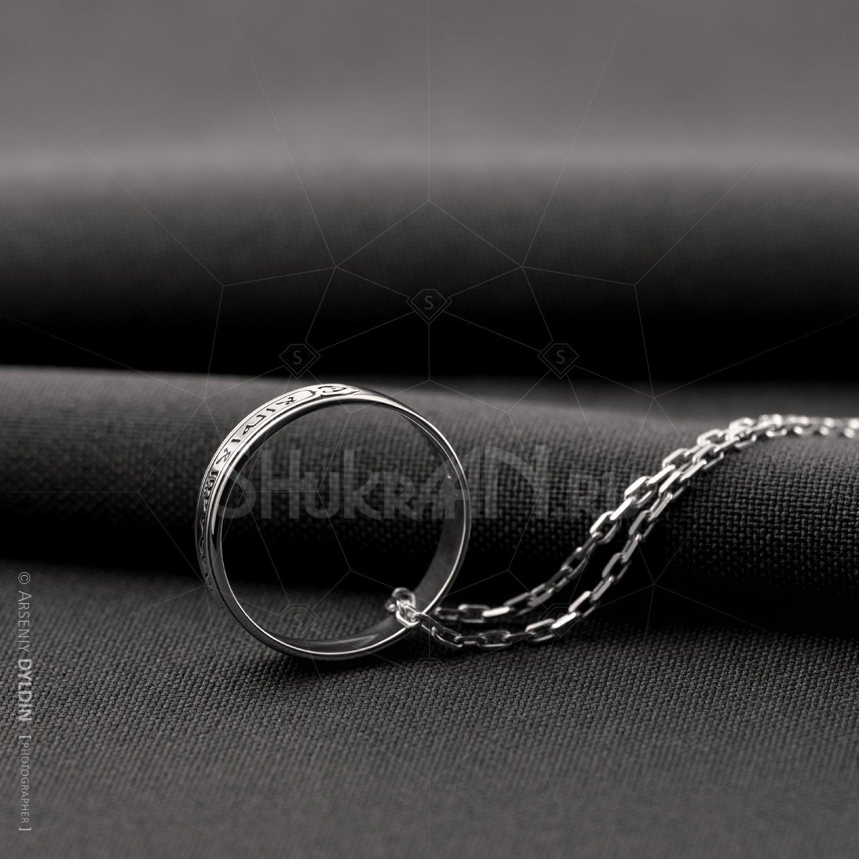 Мусульманское серебряное кольцо Шахада на цепочке